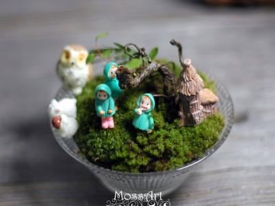 Moss Table Garden Kit: Glass bowl + Hymolonᵀᴹ Fabric base + 7Pcs Ornaments for Fairy Garden, Miniature, Bonsai, Micro Landscape, terrarium