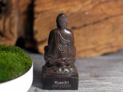 """Zen - 4"""" Wood Sculpture - Sitting Buddha - Miniature Garden Statue"""
