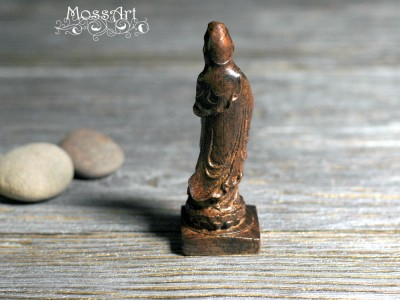 Zen - Wood Sculpture -Kwan Yin - Guanyin Bodhisattva - Miniature Statue
