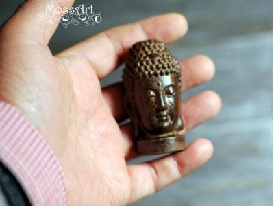 """Zen - 2.4"""" Wood Sculpture - Buddha Head - Miniature Statue"""