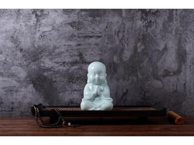 Zen - Bluish white glazing porcelain Sitting Young Monk